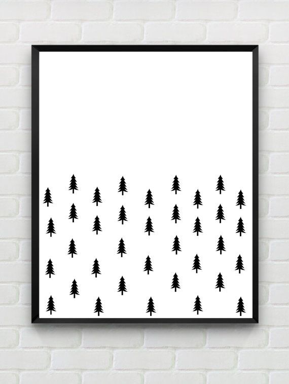 Instant download printable abstract woodland wall art for Black and white mural prints