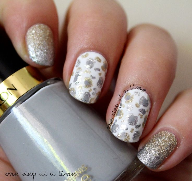 Gold and Silver Leopard Print | One Step At A Time #nails #nailart #gradient #animalprint