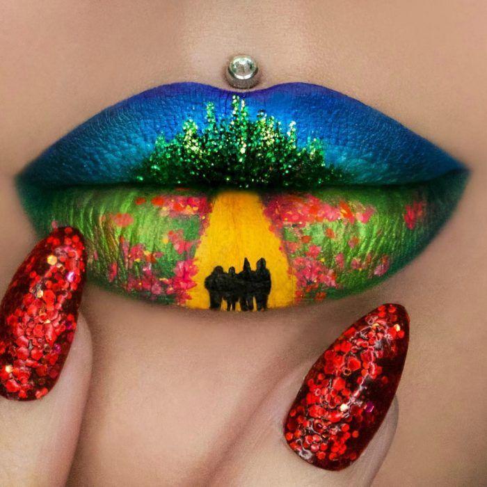 Labios grandes con pearcing pintura de camino amarillo y pasto