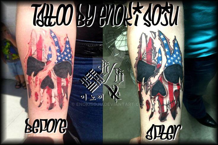 Before and After Skull Skin Tear Tattoo by Enoki by enokisoju.deviantart.com on @DeviantArt