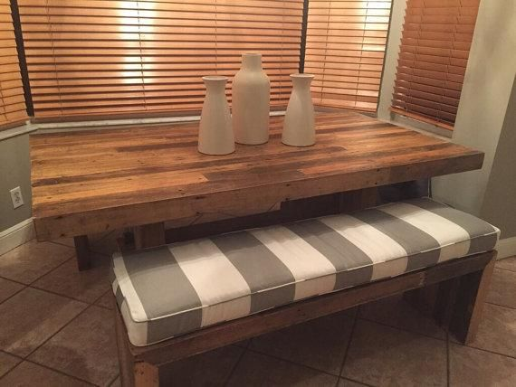 Custom Indoor Bench Seat Cushion Made with Stripped Grey & Cream Fabric
