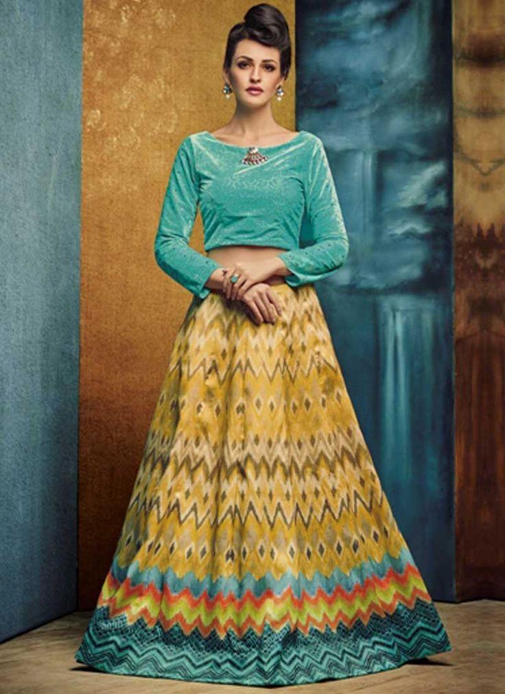 Turquoise Yellow Embroidery Work Silk Designer Print Fancy Lehenga Choli