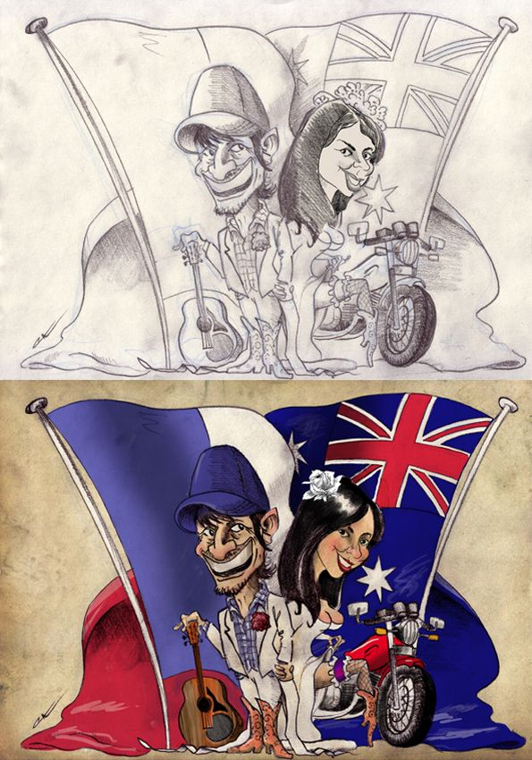 Jacinta was Australian, Fab was French. Cowboy boots, guitars & a Triumph motorcycle were popular items to add to this caricature for their wedding