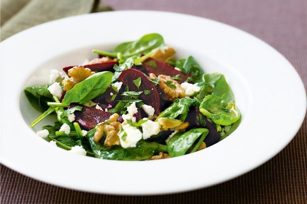 It might sound fancy, but this beetroot, goat's cheese, spinach and nut salad is quick and easy to prepare.