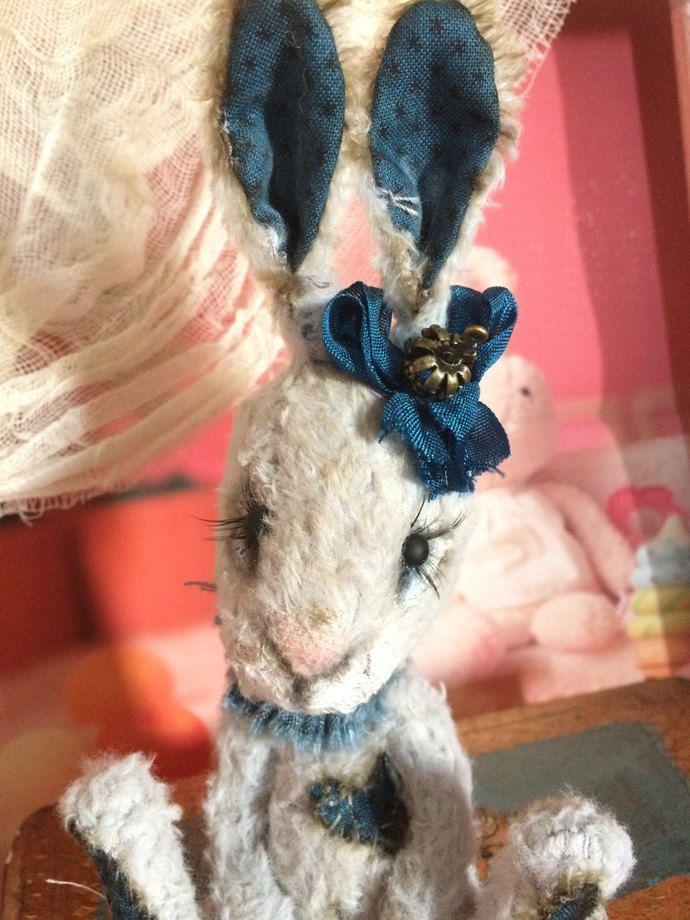 Ooak Handmade  plush: pale grey Little bunny by By Heliantas, $90.00 USD