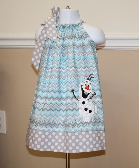 Frozen Olaf snowman pillowcase dress birthday themed aqua blue toddler dresses can be personalized with monogram or name