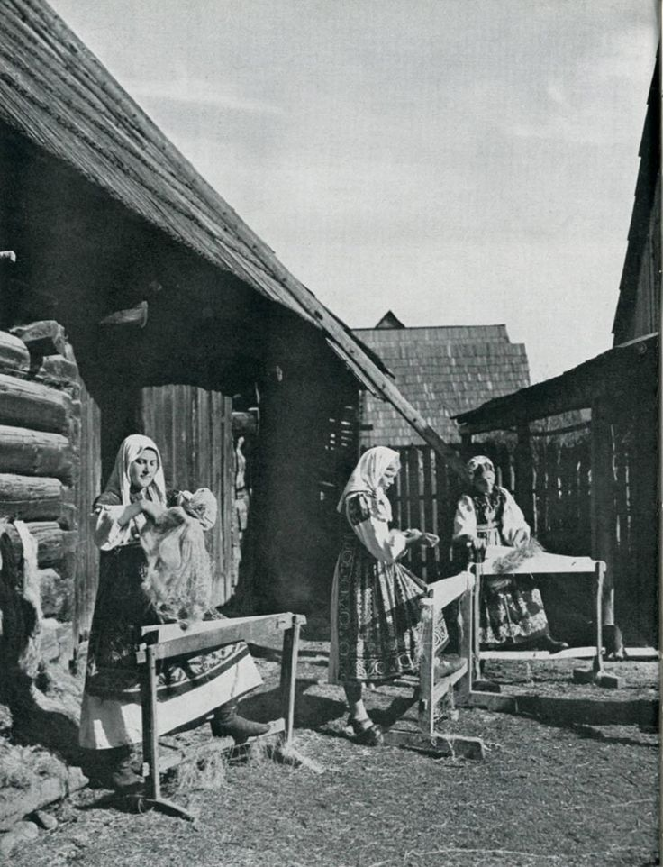 Flax scutching, Slovakia (19th century)