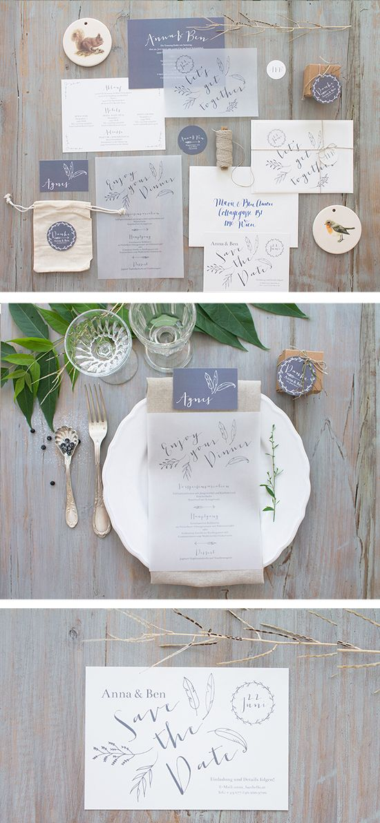 Feather inspired wedding invitation. Photo from: papierhimmel