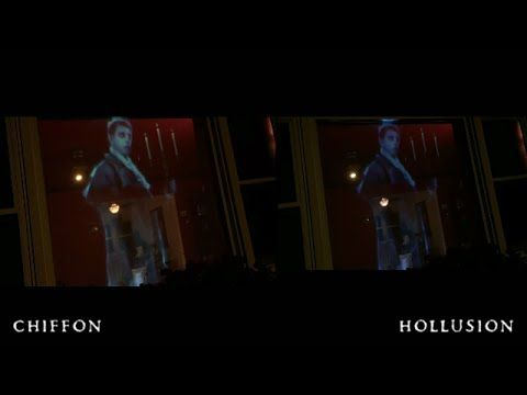 Halloween hologram projection - comparing scrims and fabrics - YouTube
