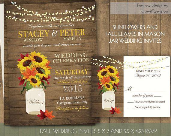 Fall wedding invitations rustic mason jar wedding invitations fall leaves and sunflowers in mason