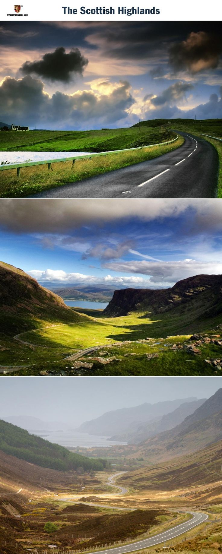 The Scottish Highlands. No scarcity of twists and turns: the steepest road in the Kingdom. Route: Inverness - Loch Garve - Inverness. Driving time: Approx. 6 hours. Distance: Approx. 364 km (226 miles). Recommended travel time: Start of April - Start of November.   Learn more: http://link.porsche.com/gts/scottland