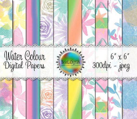 Water Colour  Digital Papers  Pattern paper by Beauladigitals