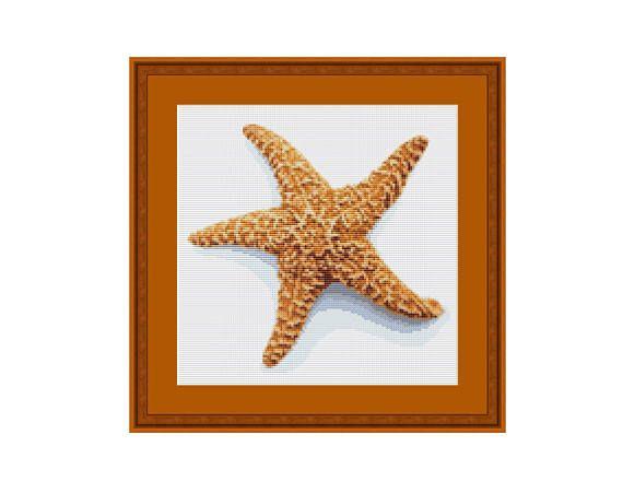 Orenco Originals Nautical Seashore Starfish Orange Counted Cross Stitch Pattern