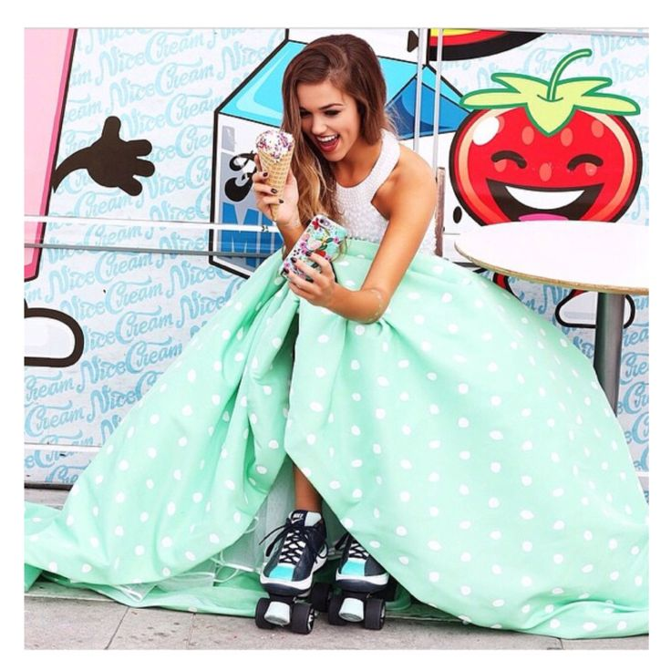 white top with a green with white polka dots skirt long dress