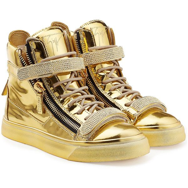Giuseppe Zanotti Metallic Leather High-Top Sneakers ($1,065) ❤ liked on Polyvore featuring shoes, sneakers, gold, high top, hi tops, metallic high top sneakers, lacing sneakers, leather high tops and high top zipper sneakers