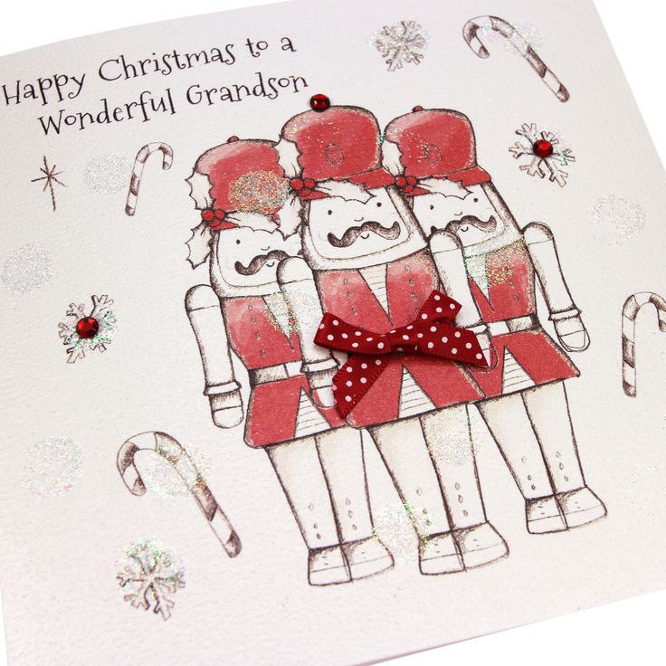 Handmade Luxury Embossed Glittered Christmas Card Cute Soldiers - 'Happy Christmas to a Wonderful Grandson'