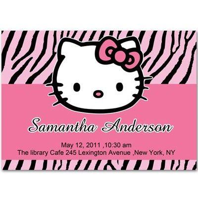Pink Hello Kitty Zebra Baby Shower Invitations Bs243