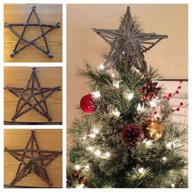 DIY Rustic Star Tree Topper | 15 DIY Christmas Tree Topper Ideas, check it out at http://diyready.com/diy-christmas-tree-topper-ideas