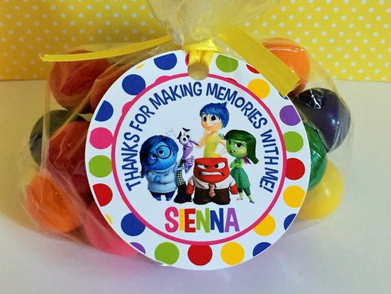 12 Inside Out Birthday Party Favor Tags by sweetheartpartyshop