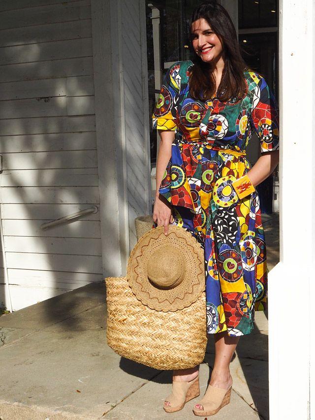Stella Jean x Marina Rinaldi colorful tiered Dress