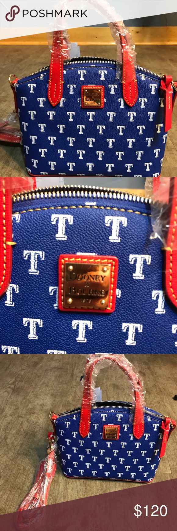 Dooney and Bourke Texas rangers tote NWT Dooney and Bourke MLB Texas Rangers tote ruby red Team pride is in full swing with this coated cotton MLB Collection. This bag is a favorite casual carry-all that's hands-free and versatile, perfect for work or errands. Major League Baseball trademarks and copyrights are used with permission of Major League Baseball Properties, Inc. One inside zip pocket. Two inside pockets. Cell phone pocket. Inside key hook. Handle drop length 3.5 in. Strap drop…