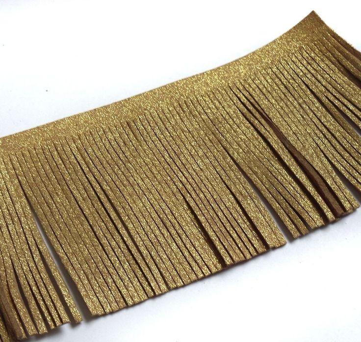 """2-5/8"""" Faux Suede Metallic Gold / Tan Fringe Trim DIY Craft-Half Yard-T1037…"""