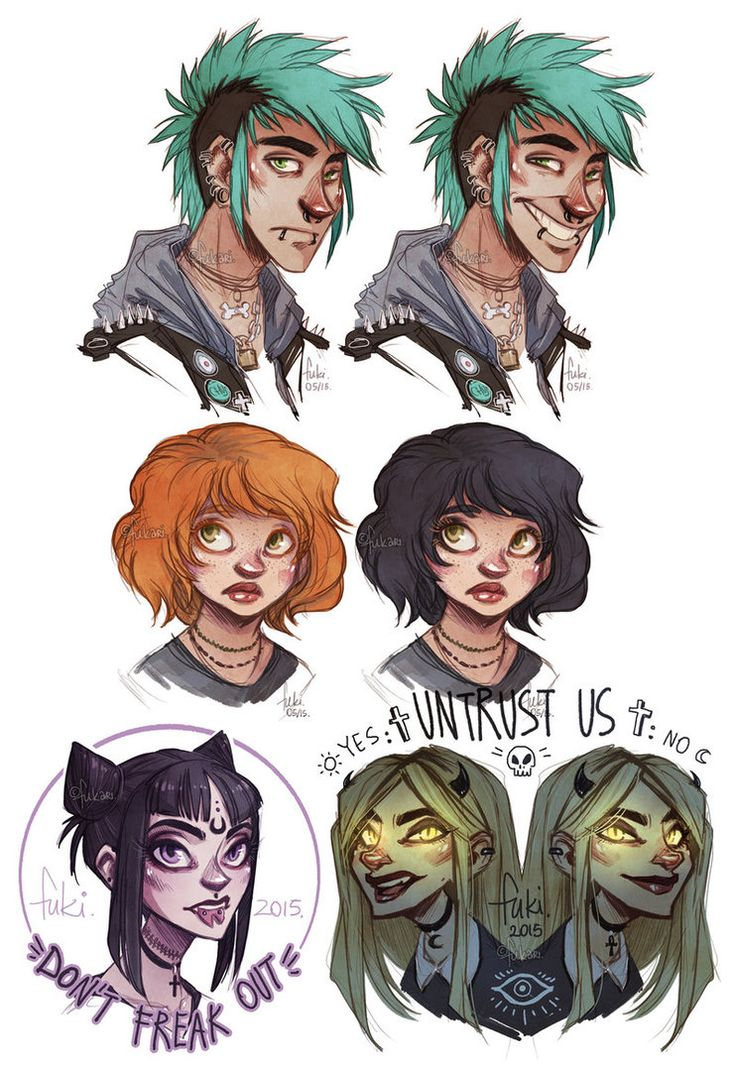 some portraits of my OCs c: 1. G with his oooold hairstyle (requested by Kirinoru ) 2. Chelle - when she was going to highschool she dyed her hair black because she didn't wanted to be compared to ...