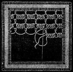 Irish Lace - Chapter XIII - Encyclopedia of Needlework, Irish lace materials, Irish lace patterns, tacking down the braids, bars of different kinds, Insertion stitches