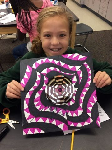 5th grade artists learned about Op Art . They learned about how sometimes it is meant to be an optical illusion and sometimes it is just me...