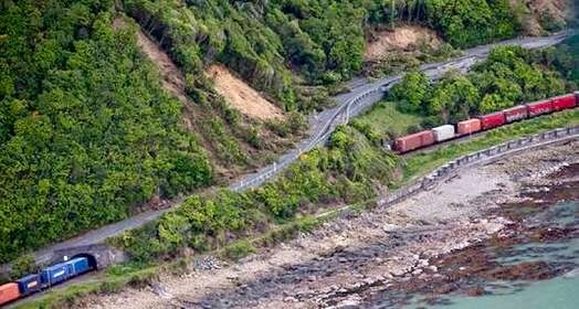 Bill ✔️ A freight train is safe, but trapped by landslides near Kaikoura, New Zealand after a massive M7.8 earthquake struck the region on 14 November 2016. The line may never be reopened on this coast, the land is so dramatically altered!     Bill Gibson-Patmore.  (curation & caption: @BillGP). Bill✔️