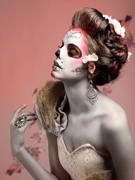 Primavera de los Muertos - Spring Sugar Skull - Model: Tia Guzzo Makeup: Jennifer Ruth Hair Styling: Rhi Yee Fashion stylist: Jihan Amer Set decorator: Guen Gianfranchi Photography: Lloyd K. Barnes