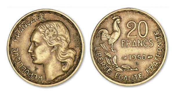 monnaie francaise 20 francs guiraud 1950 et 1950 b cotations des monnaies fran aise. Black Bedroom Furniture Sets. Home Design Ideas