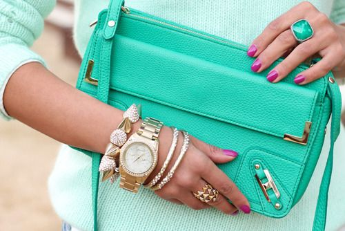 This picture really fits the GIRL category, it's well color coordinated and the jewlrey is gorgeous(: girly, turquoise, handbags, coordinated, jewels, watches, bracelets, rings