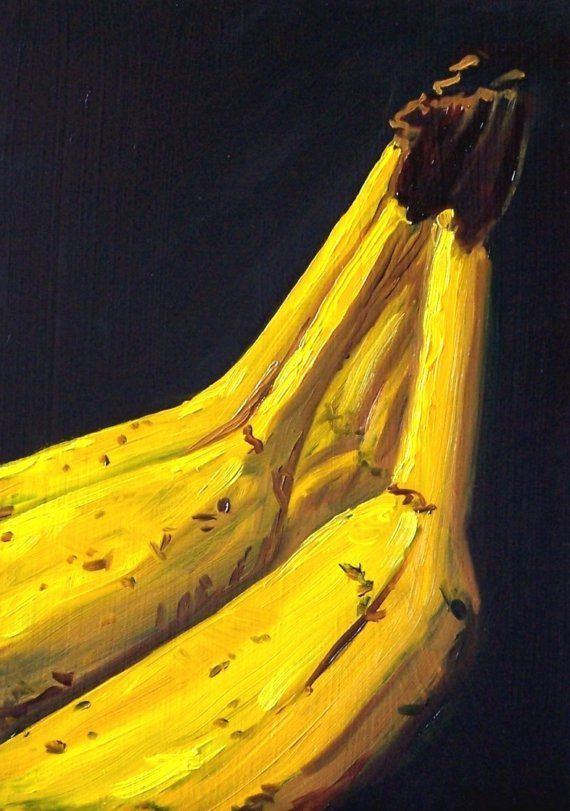 Still Life Oil Painting Original Banana Fruit by smallimpressions, $45.00