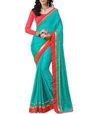 turquoise chiffon saree - Online Shopping for Sarees