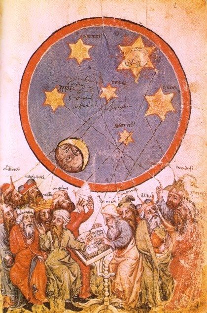 Twelve astrologers pagans ( including aristotle, virgil, seneca ) interpret the constellations. Book of Destiny in Versi. Germany central, xiv sec.