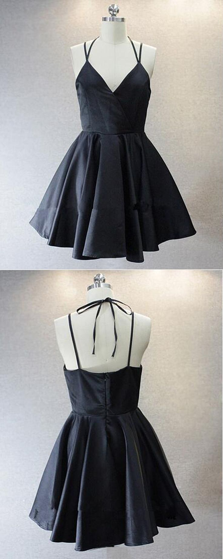 simple black homecoming dresses, multi-strap short prom dresses, satin v-neck party dresses