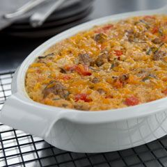 Savory Oatmeal Bake  Italian sausage, peppers, onions, cheese, and 2 cups of oatmeal. I'm intrigued.