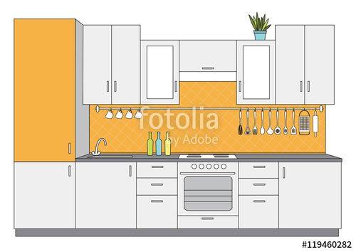 """Pobierz grafikę wektorową royalty free  """"Vector illustration od architectural sketch interior small kitchen front view """" autorstwa Ornavi w najniższej cenie na Fotolia.com. Przeglądaj naszą bazę tanich obrazów online i odnajdź doskonałą stockową grafikę wektorową do Twoich projektów reklamowych!"""