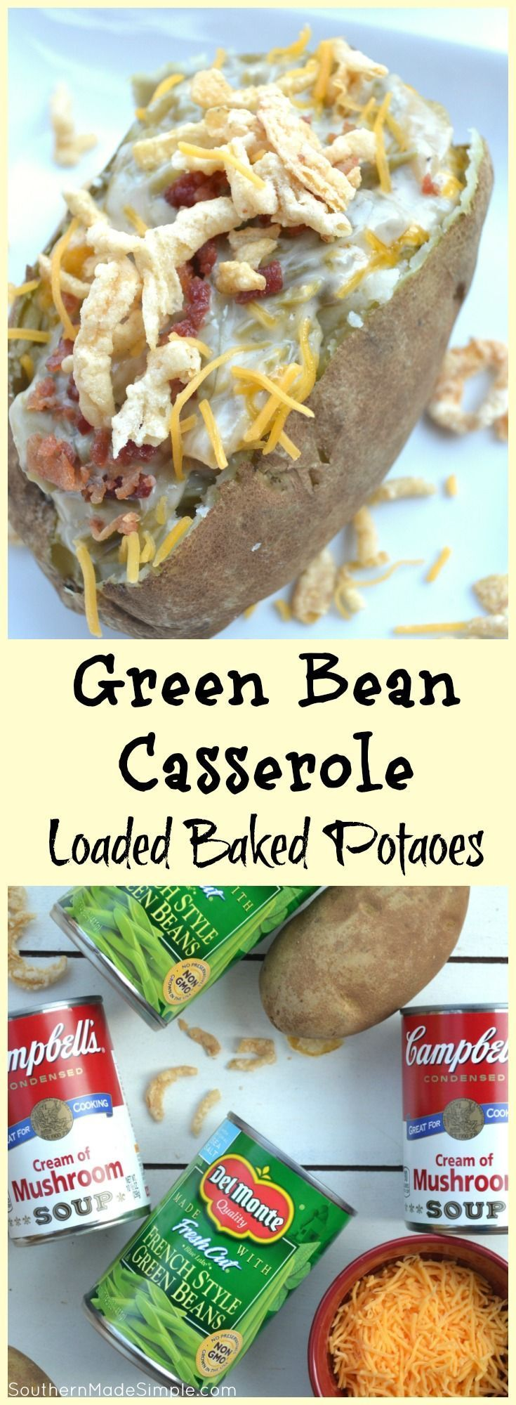 Forget everything you know about traditional green bean casserole - this Green Bean Casserole Stuffed Loaded Baked Potato is THE way to fill you and your friends up on Thanksgiving! #GiveThanksBeFull #ad @Target