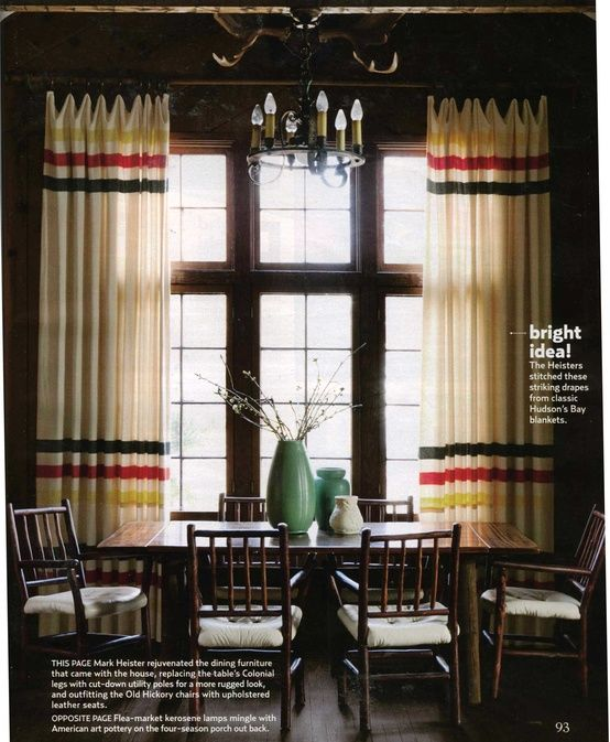 Like The Color Scheme In Curtains Reminds Me Of Point Blankets Heisters Stitched These Striking Drapes From Classic Hudsons Bay