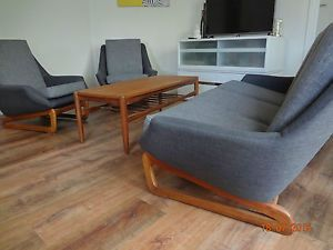 Danish Deluxe Retro Vintage Sleigh Based Lounge Suite in VIC | eBay