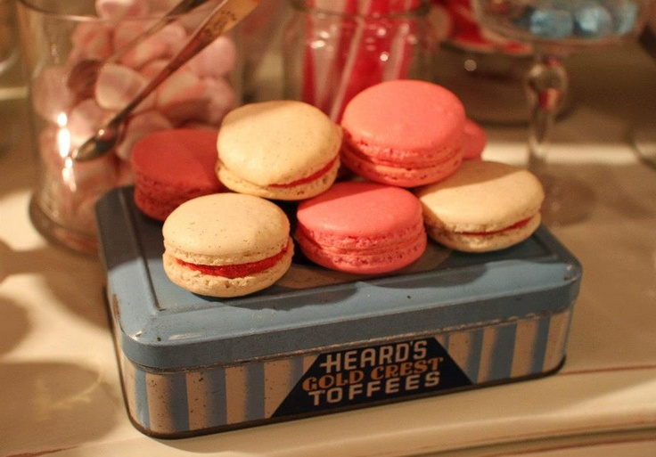 Creative Cooking macaroons on a vintage tin.