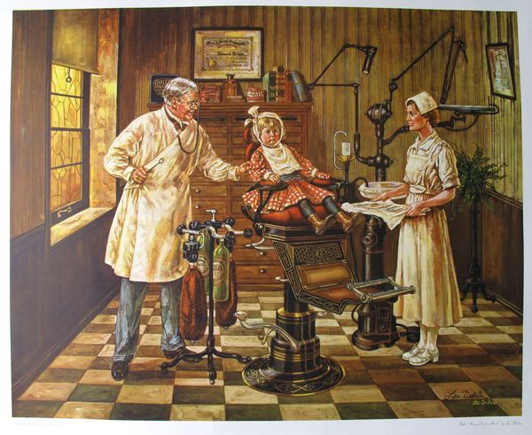 Lee Dubin DENTIST OFFICE Hand Signed Limited Ed. Lithograph