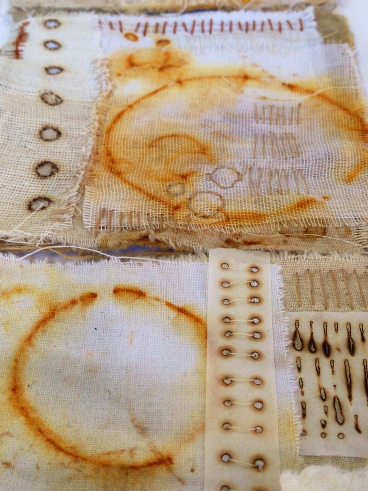 Rust dyed, layered fabric collage with hand stitch by Julia Wright