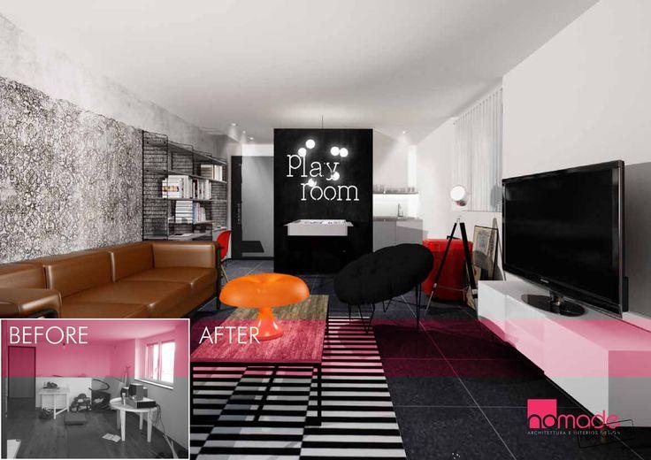 Come sfruttare al massimo lo spazio creando un area living giocosa. #nomaderelooking #nomadearchitettura#relooking#ristrutturare #interiors#interiordesign #italiandesign #livingroom