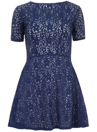 Navy lace panel skater dress - Dresses  - Clothing