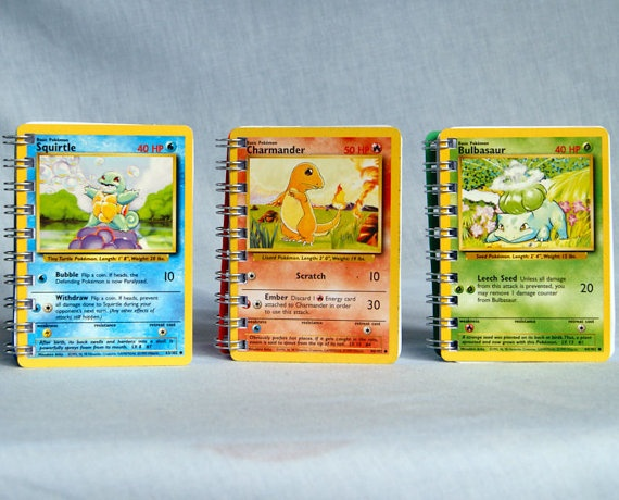 Pokemon card sketchbooks set of 3 starter Pokemon by PHGNotebooks, £6.00