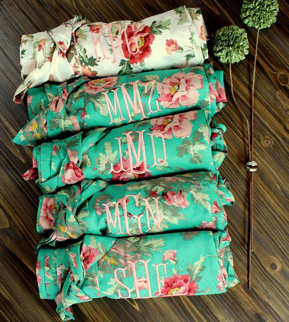 Bridesmaid Robe Set of 5 - Five Cotton Floral Robes- Cheap Monogrammed…