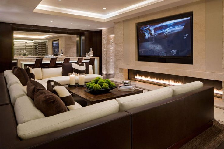 Modern And Luxury TV Room With White And Brown Furniture Interior Color Decorating Withawesome Ceiling Lighting Fixture : Modern TV Room Ideas Equipped With Elegant Sofa Set